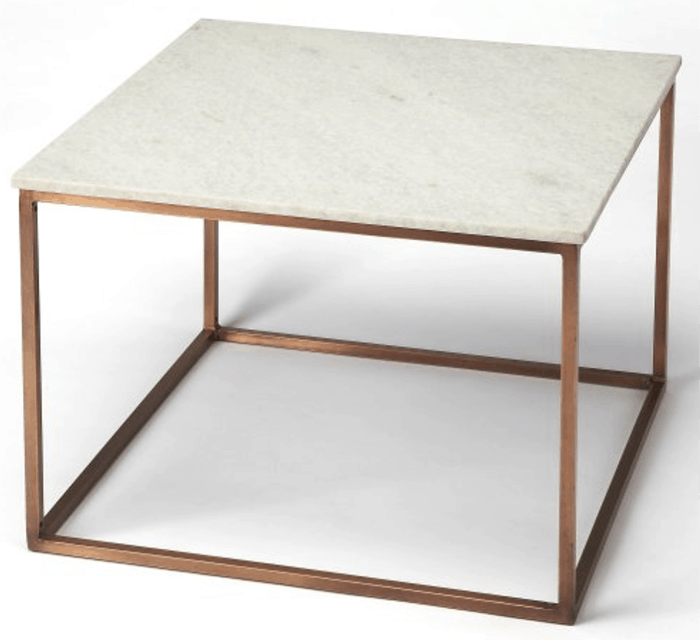 Nestor Black Marble Square Coffee Table On A Metal Base: Marble Top Coffee Tables