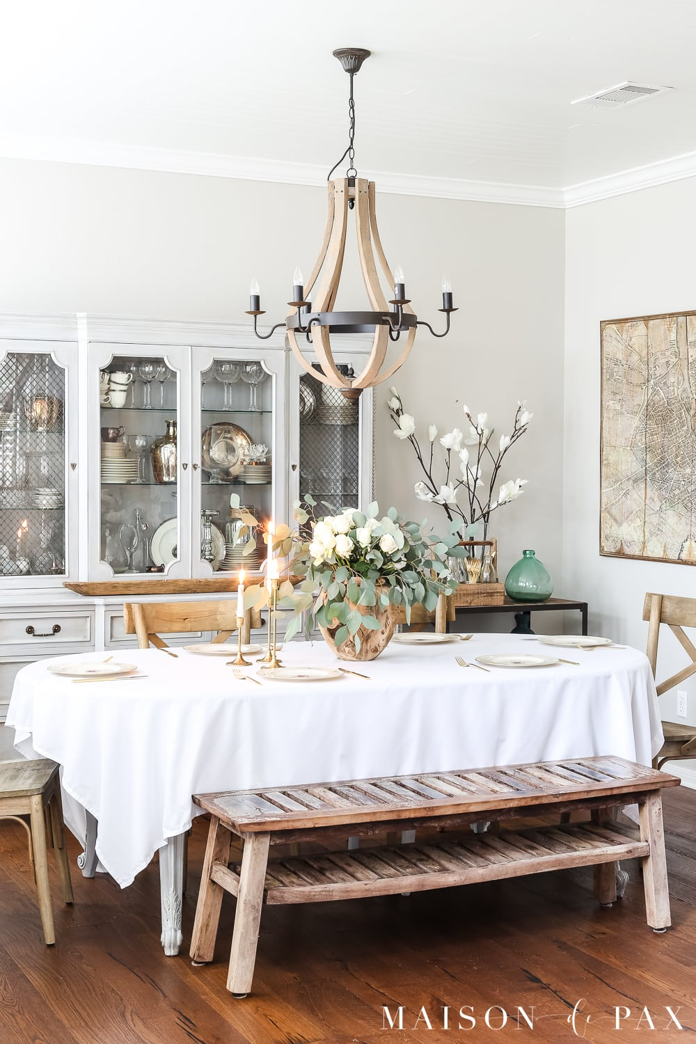 French country dining room with white roses and eucalyptus centerpiece- Maison de Pax