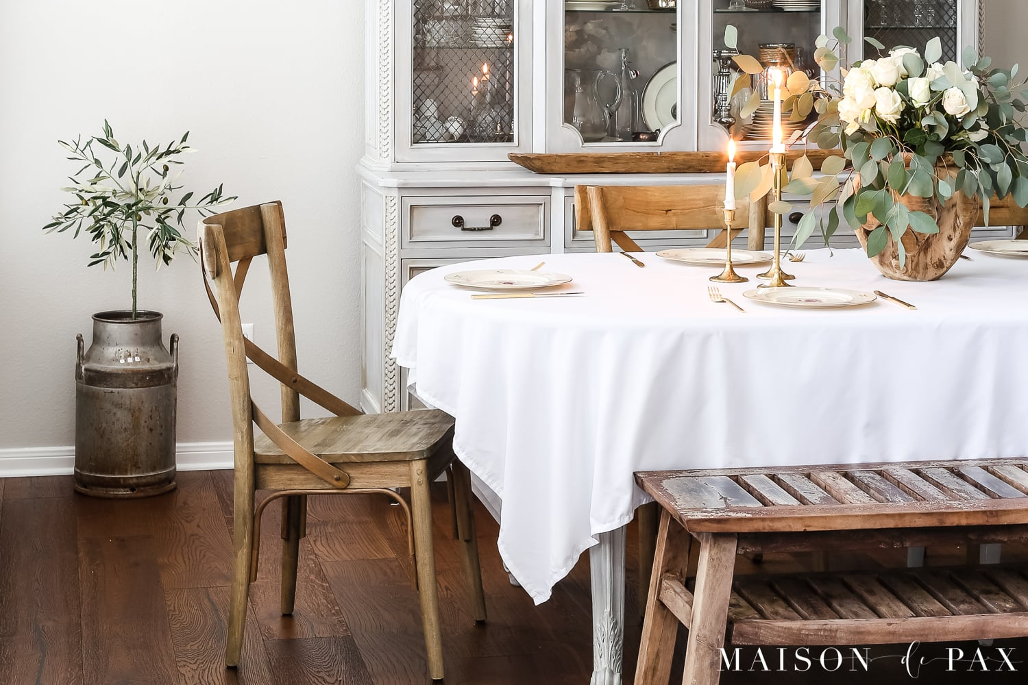 faux olive tree in dining room- Maison de Pax