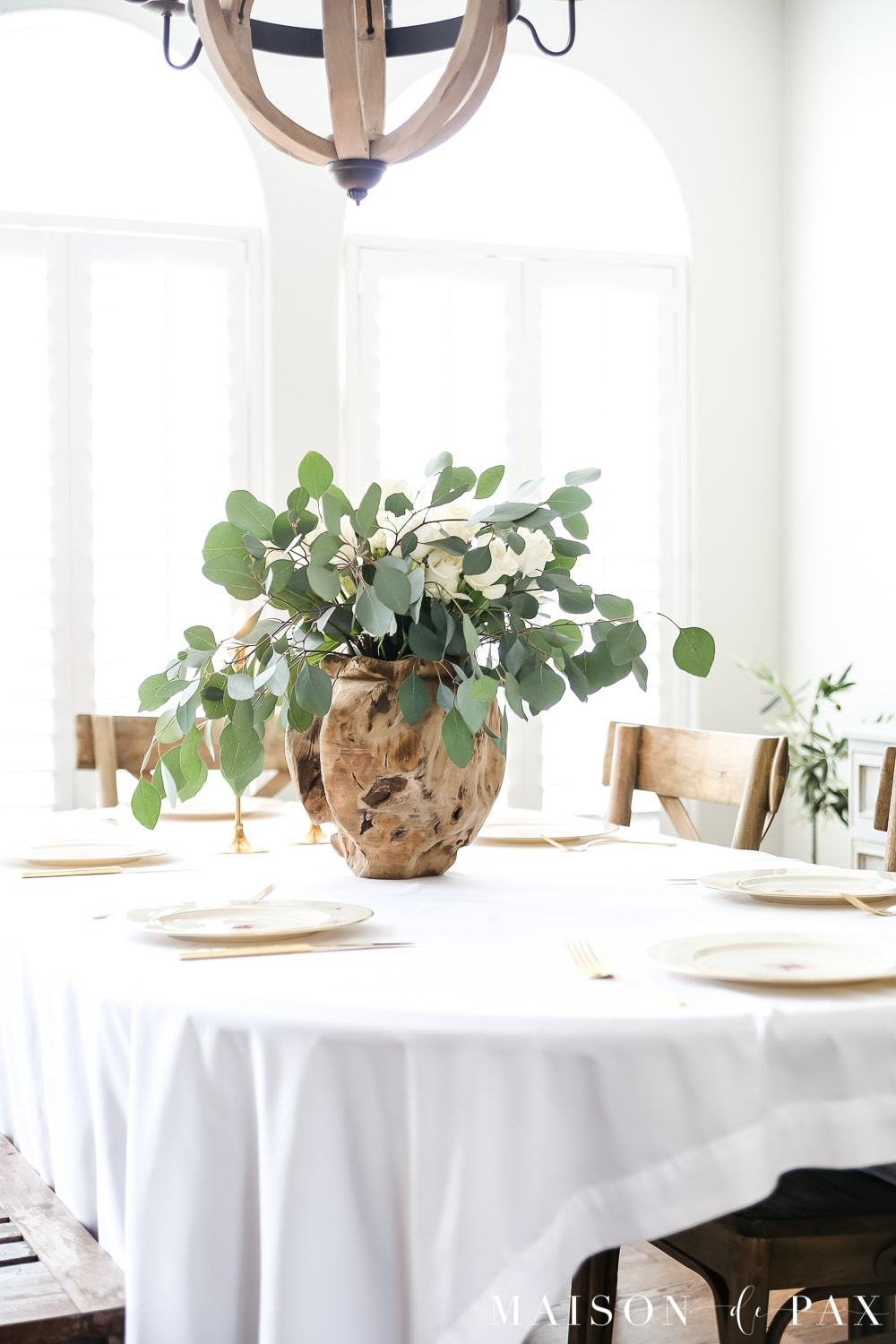 wood vase! with white roses and eucalyptus centerpiece in French style dining room- Maison de Pax