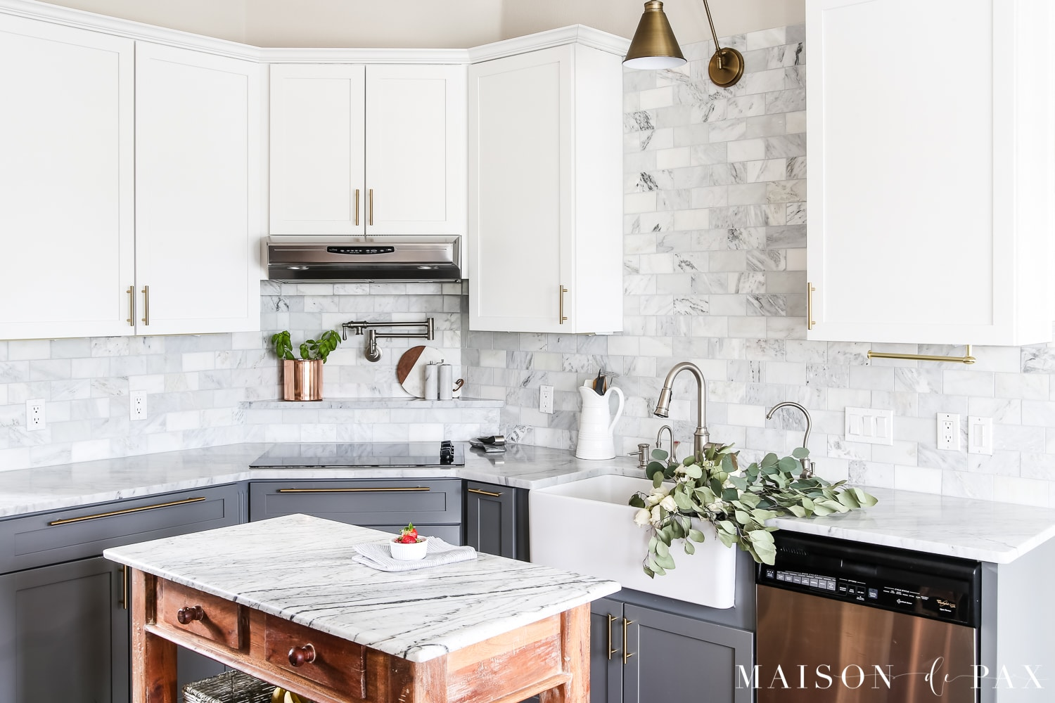 Gray and white modern farmhouse kitchen with marble countertops- Maison de Pax
