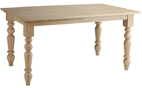 Natural Whitewash Turned Leg Dining Table