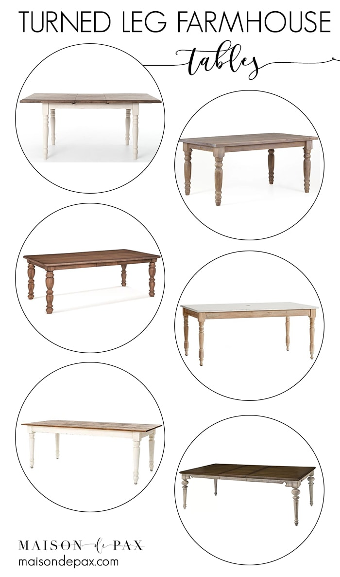 Looking for a turned leg farmhouse table?  Whether your style is traditional, rustic, modern farmhouse, or something else entirely... these classic turned leg dining tables make a perfect gathering place in any kitchen or dining room. #farmhousetable #farmtable #farmhousedining #farmdining #diningtable #diningtables #diningfurniture #farmhousestyle #farmhousediningroom #modernfarmhouse #turnedleg