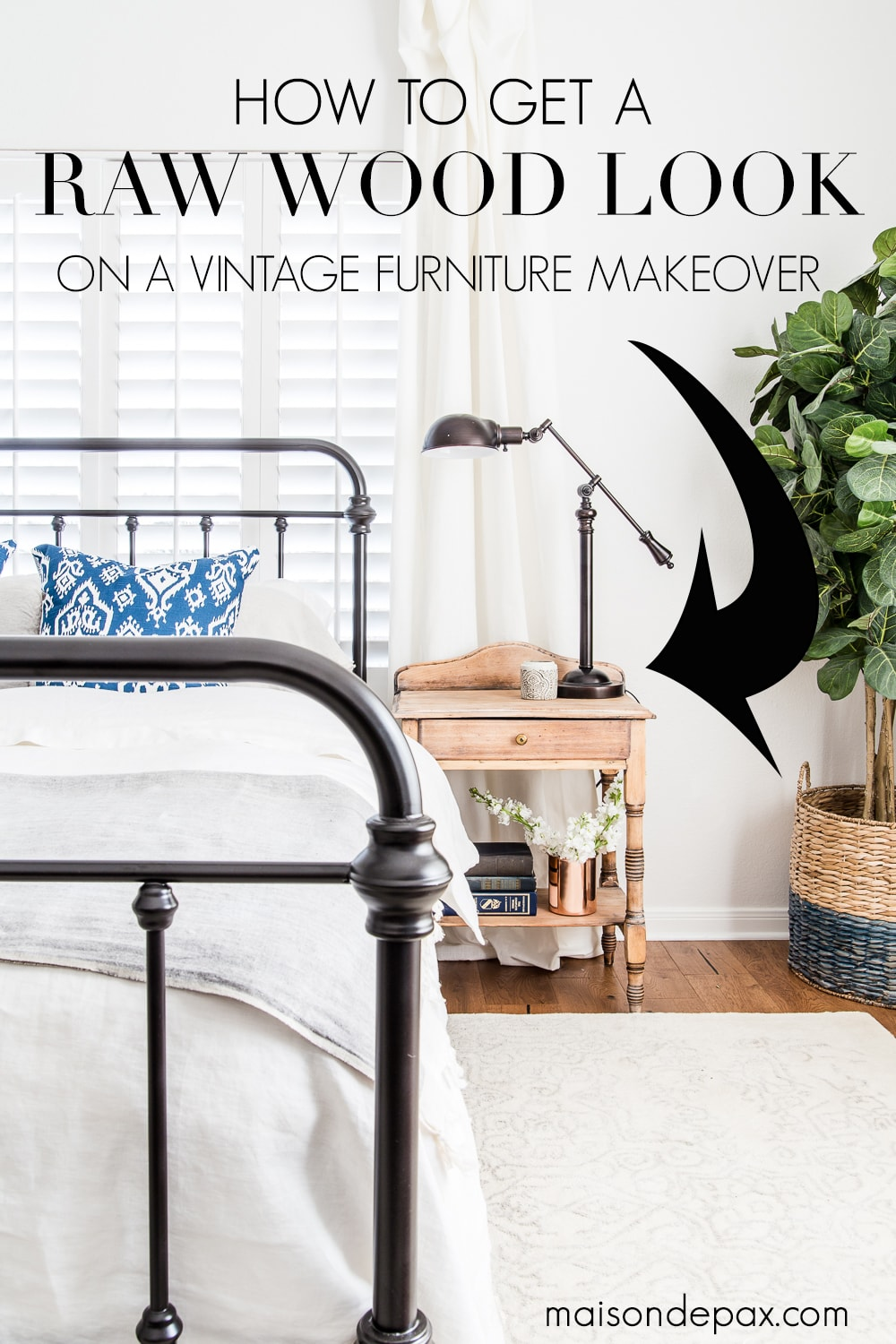 Trying to update your vintage, antique, or dated furniture?  Find out how to get a raw wood look for a fresh, modern vibe.  Learn how to do this rustic modern furniture makeover in just three easy steps! #diyfurnituremakeover #furnituremakeover #rawwood #naturalwood #waxfinish #diyproject #rusticmodern #vintagemakeover #naturalwoodfinish #rawwoodfinish #rawwoodlook