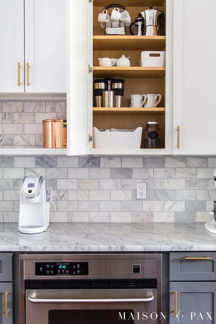 kitchen organizing ideas: coffee station... get 5 more tips for kitchen organizing! #kitchenorganization #organizing #kitchendesign