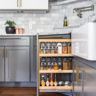 organized spice rack in a beautiful kitchen