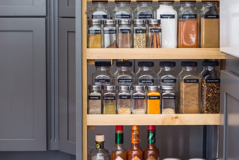 Find out where to get supplies to organize your spices just like this! #spiceorganizer #spiceorganization #spicecabinet #spicepullout #kitchenorganization #spiceorganizer #organize #organization