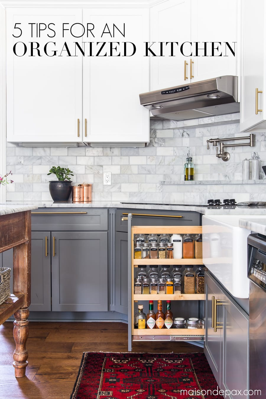 Follow these 5 kitchen organizing ideas for a beautiful AND functional kitchen! #kitchenorganization #organizing #kitchendesign