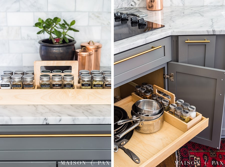 kitchen organizing ideas: store labeled spices in a caddy... get 5 more tips for kitchen organizing! #kitchenorganization #organizing #kitchendesign