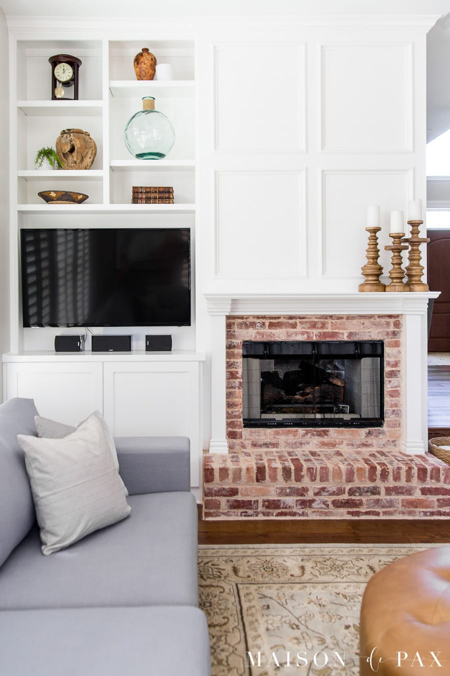 Charming The Built In Nook Beside The Fireplace Is Perfect For The Tv, And A