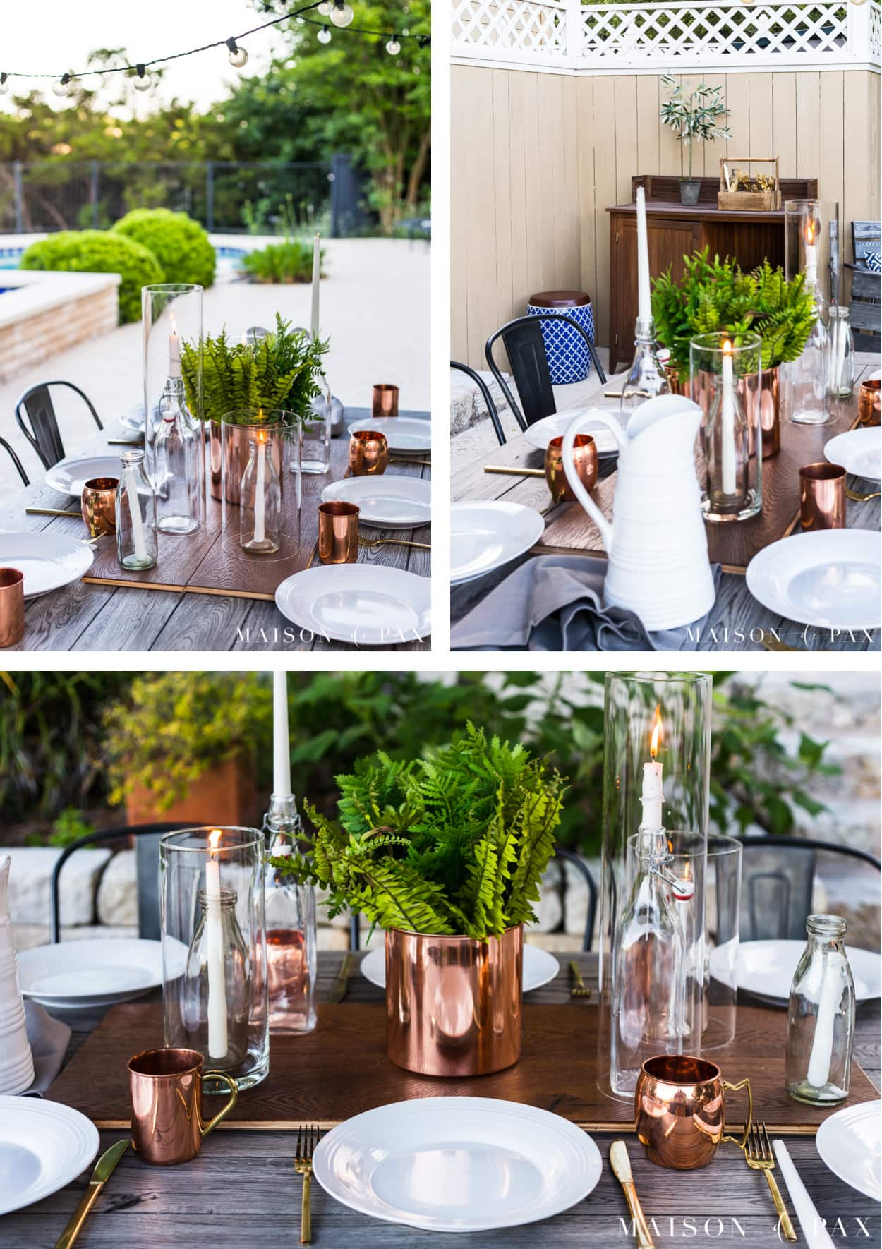 fern and succulent centerpiece: a perfect idea for an outdoor summer table! See more outdoor summer entertaining ideas. #outdoordining #outdoorentertaining #summer #summerentertaining