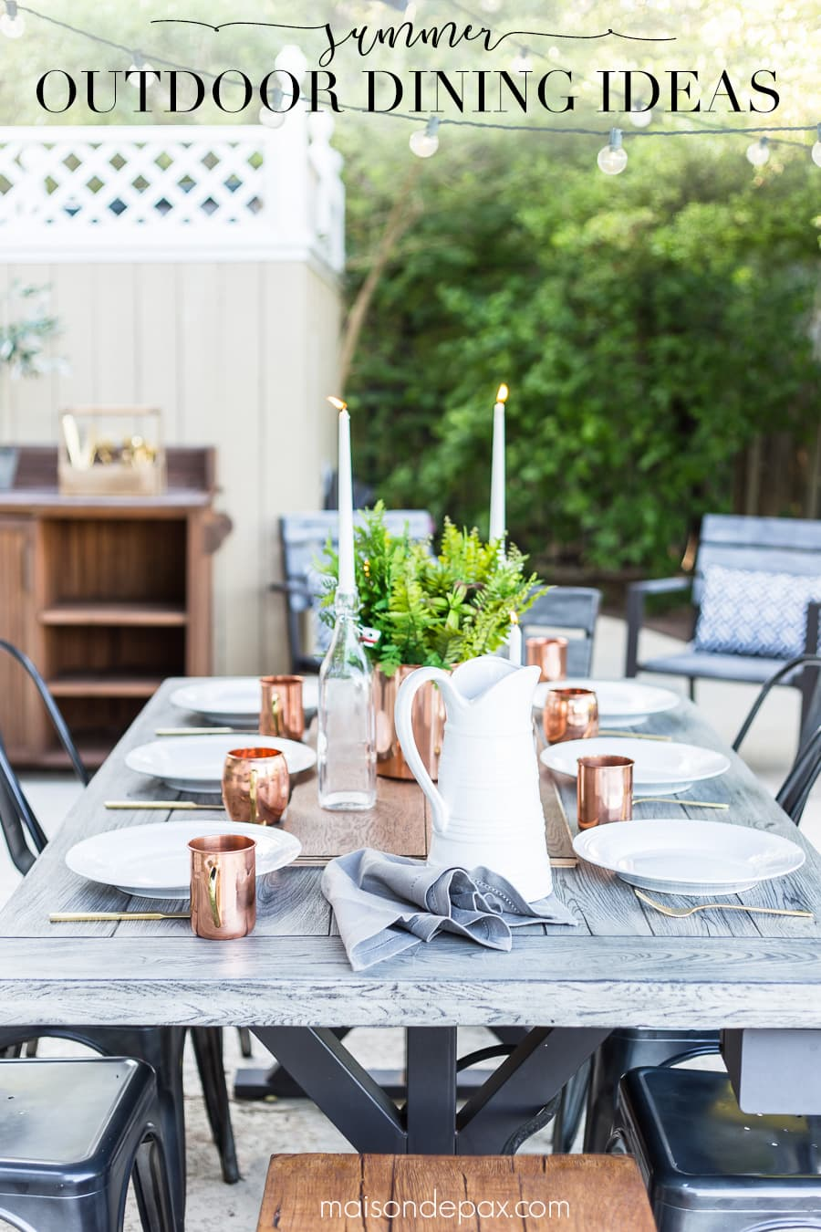 Get simple tips for creating a simple, casually elegant summer dining table! #outdoordining #outdoorentertaining #summerentertaining #summerdining