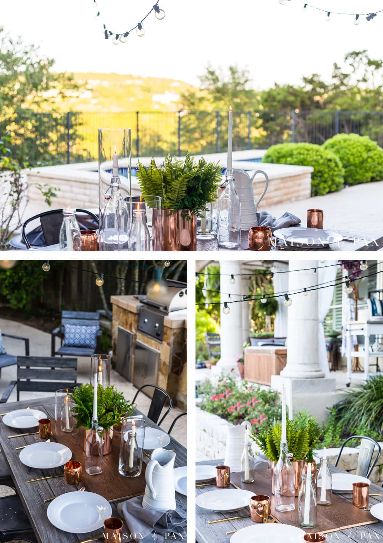 String lights and candles bring all the ambiance to outdoor dining! Get more ideas for making outdoor dining memorable. #outdoordining #outdoorentertaining #summerentertaining #stringlights