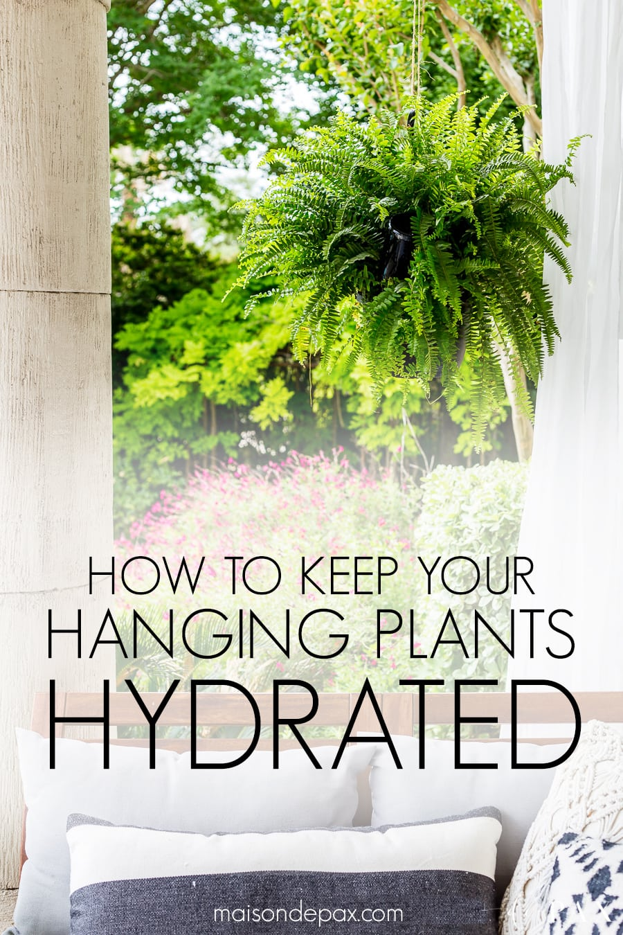 Learn how to make a wine bottle plant waterer to keep your hanging plants hydrated and your patio gorgeous this summer! #winebottlewaterer #winebottle #upcycle #garden #gardening #diygardening #hangingplants #bostonfern #summergarden