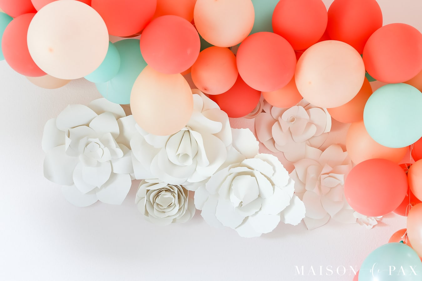 Balloon garland with paper flowers- Maison de Pax