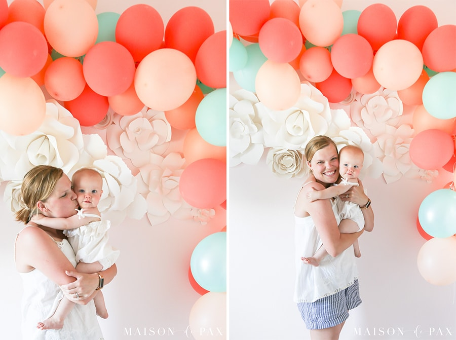 Mother and daughter 1st birthday balloon garland- Maison de Pax