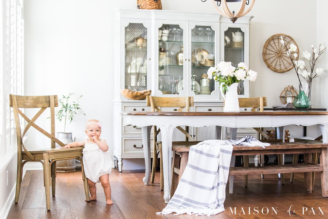 french country dining room with gray and blush accents