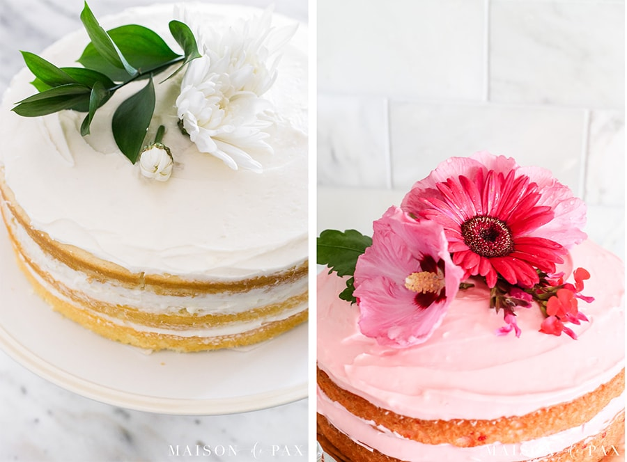 white naked cake and pink naked cake with flowers on top