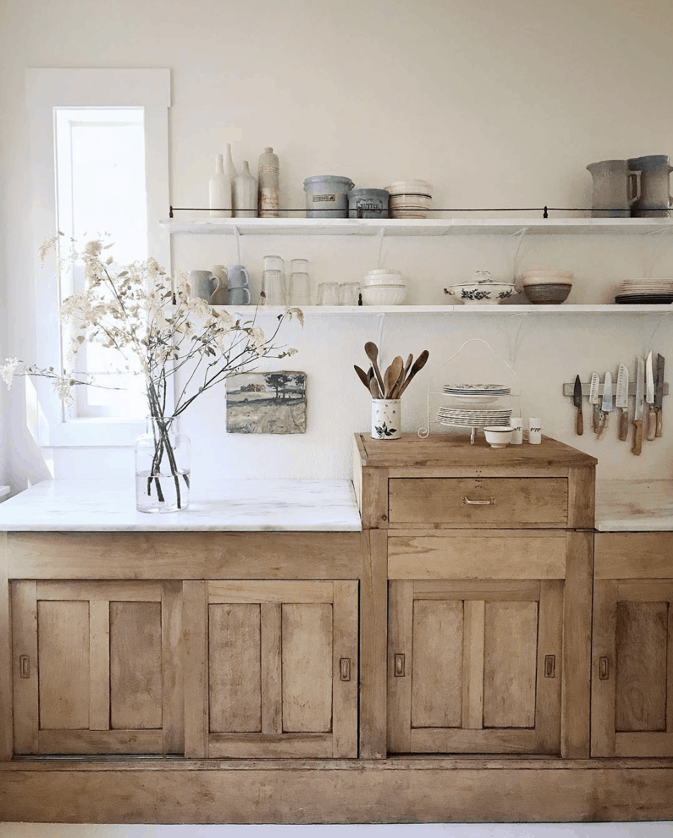 The Market Beautiful kitchen: rustic antique wood cabinet with sliding doors- Maison de Pax