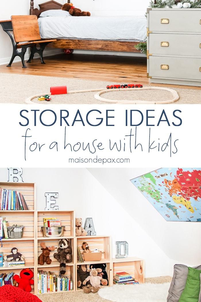 Creative storage ideas: Get 10 tips for storage in a house with kids! #storage #organizing #organize #kidfriendly #kidhome #kidstorage #homestorage