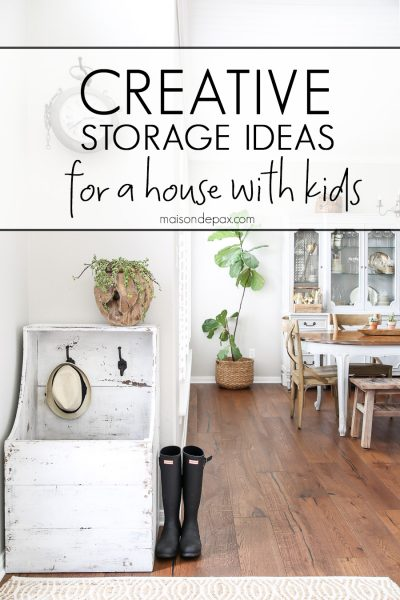 Creative storage ideas: Get 10 tips for storage in a house with kids! #storage #organizing #organize #kidfriendly #kidhome #kidstorage #homestorage