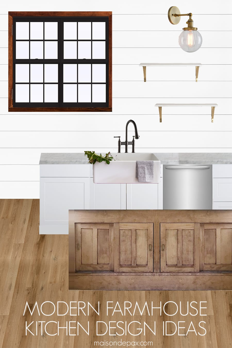 Modern Farmhouse Kitchen Design Ideas: Get 8 tips for a gorgeous modern farmhouse look. Plus see before pictures and plans for a rustic modern kitchen makeover. #modernfarmhouse #farmhousekitchen #kitchendesign #kitchen #modernfarmhousekitchen #rusticmodern