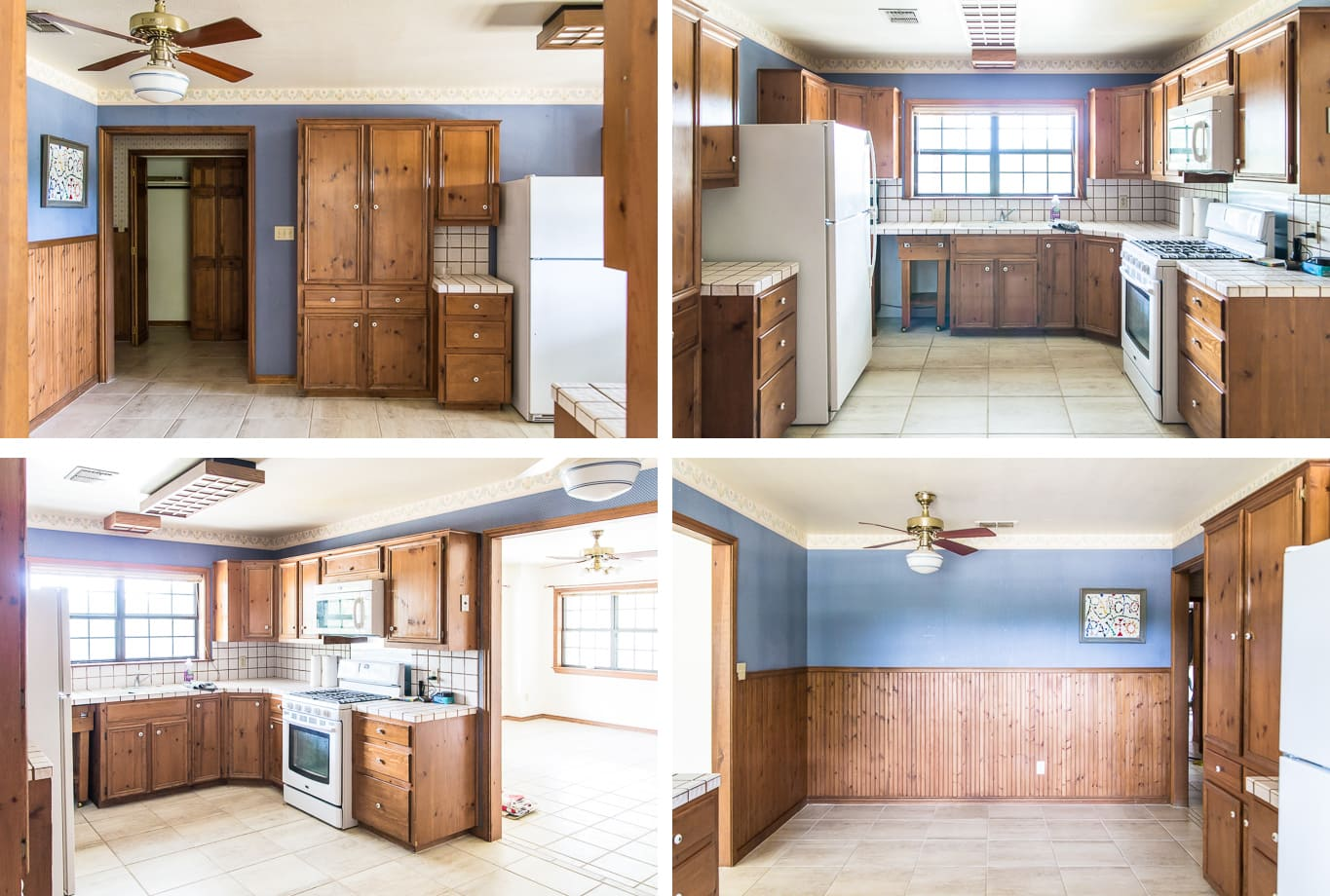 BEFORE of a modern farmhouse kitchen makeover
