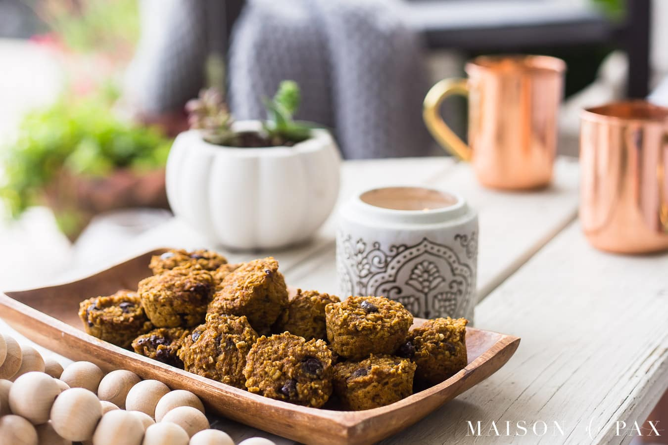 pumpkin muffins and copper mugs