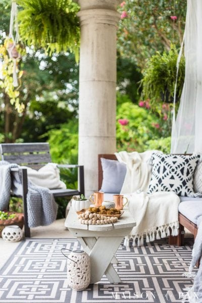 Get easy fall decorating ideas like succulent pumpkins and more! #falldecor #falldecorating #succulents #pumkins #fallporch #outdoorliving #patio