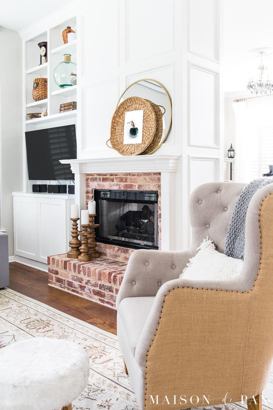 Gray Living Room with Simple Fall Decor - Maison de Pax