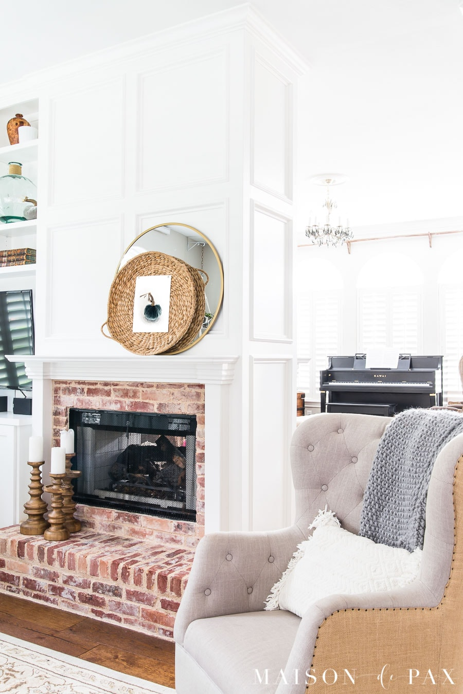 White painted fireplace with antique brick- Maison de Pax