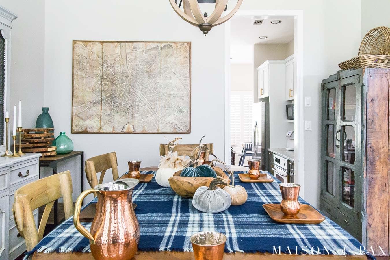 blue plaid fall table with velvet pumpkin centerpiece