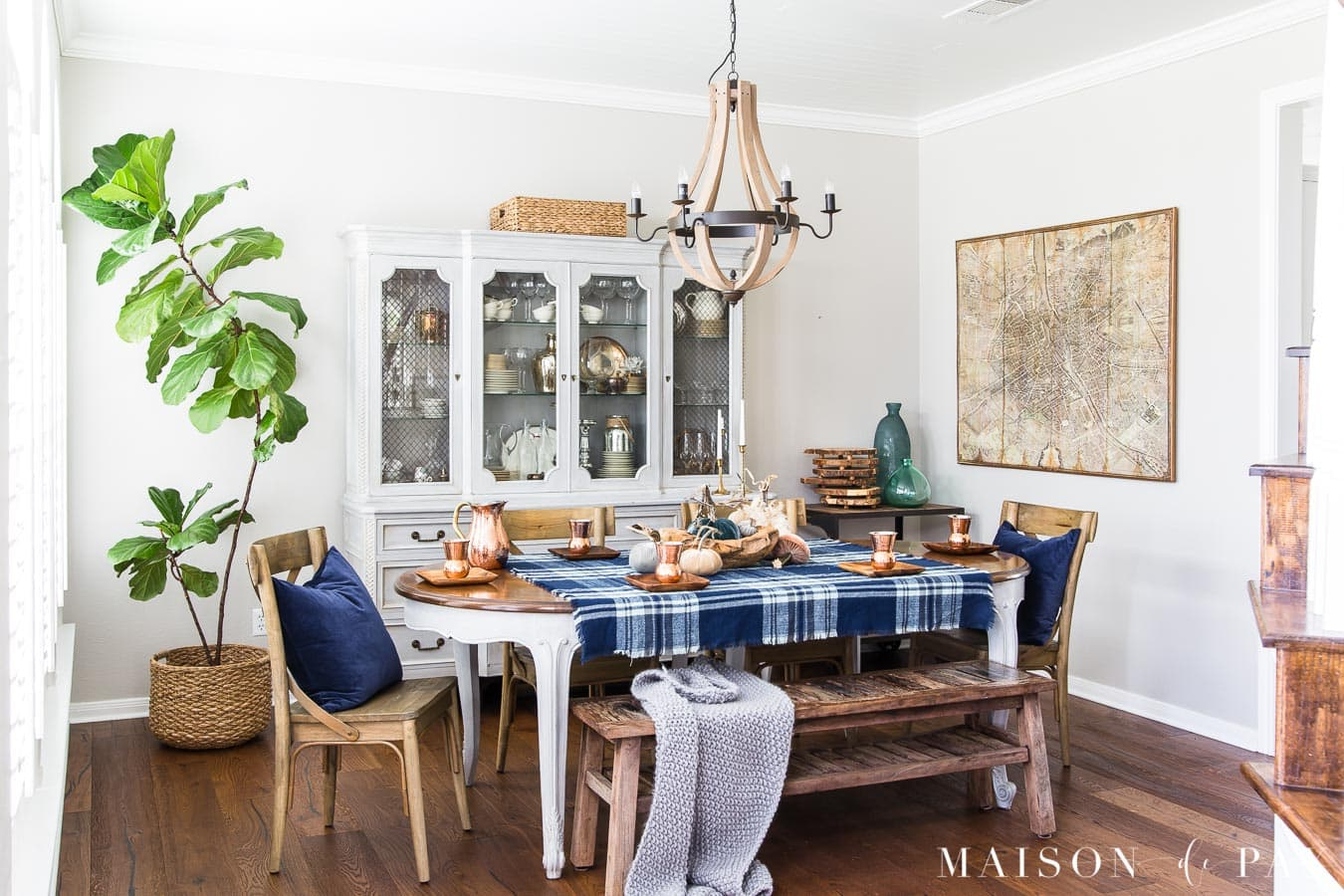 blue and gray fall dining room