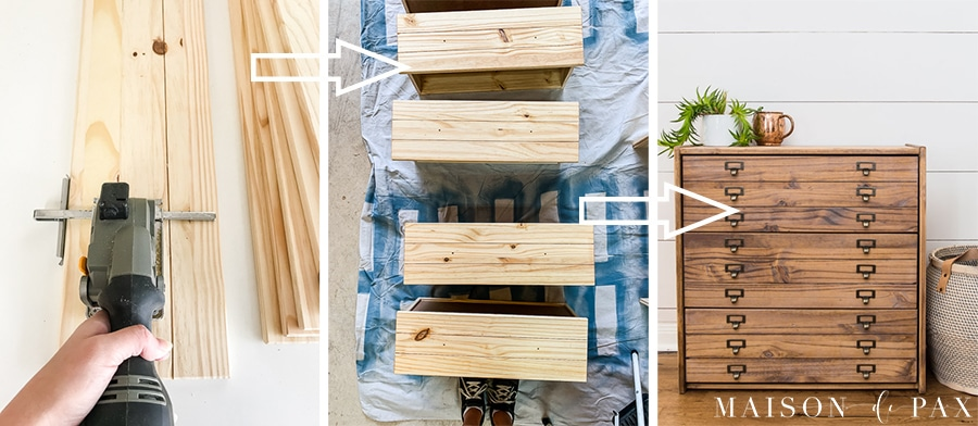 step by step process for creating faux drawer fronts to resemble antique printer's cabinet