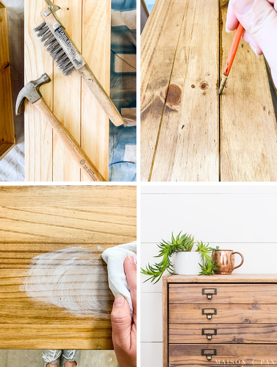 step by step tutorial for creating an old, worn wood finish on new pine