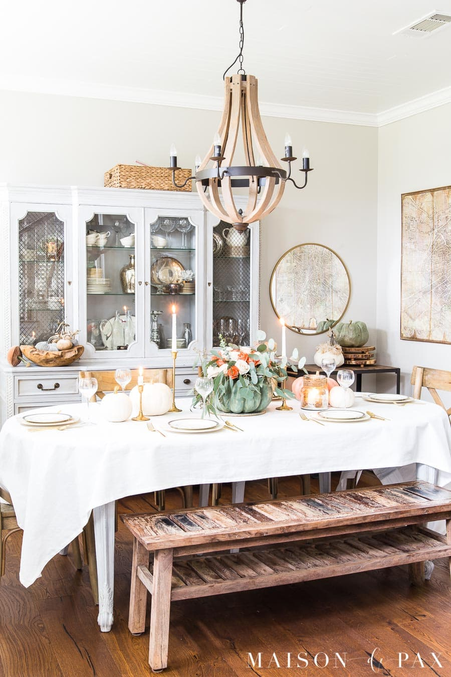 French country dining room set with an elegant Thanksgiving table.