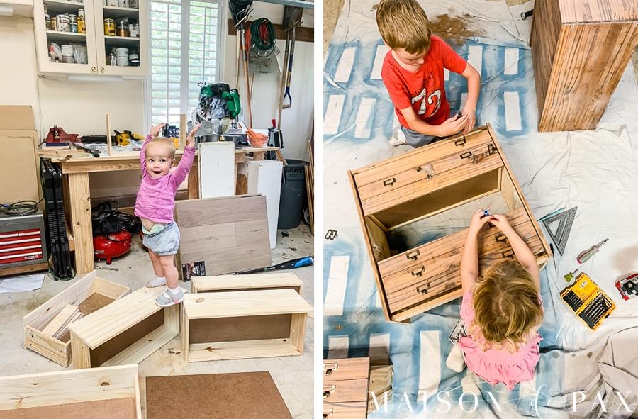 kids creating diy dresser