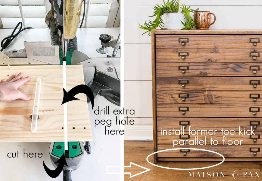 step by step pictures for removing toe kick from IKEA Rast dresser