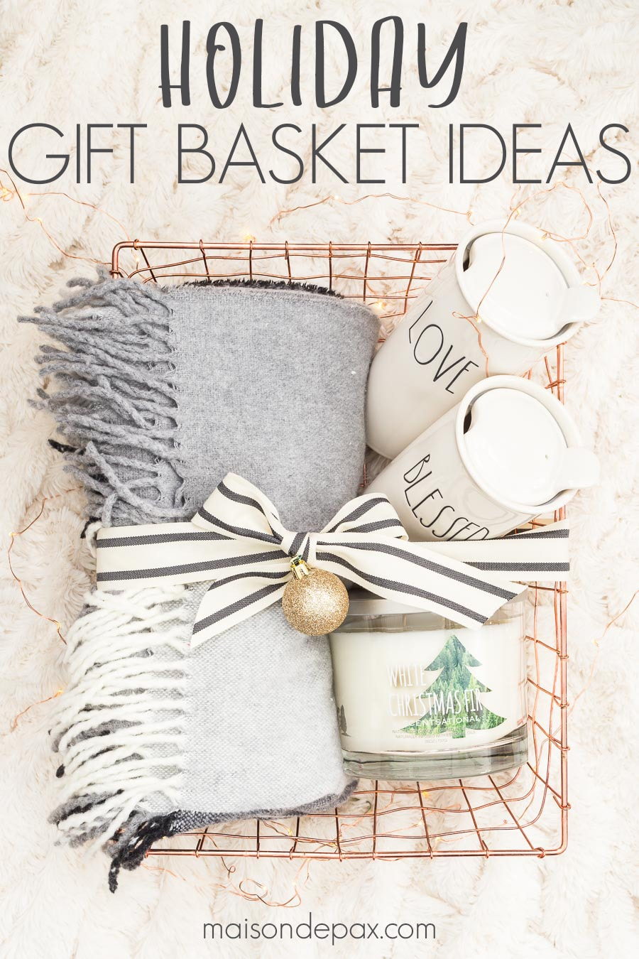 "gift baskets filled with home items under a christmas tree and an overlay reading ""holiday gift basket ideas"""