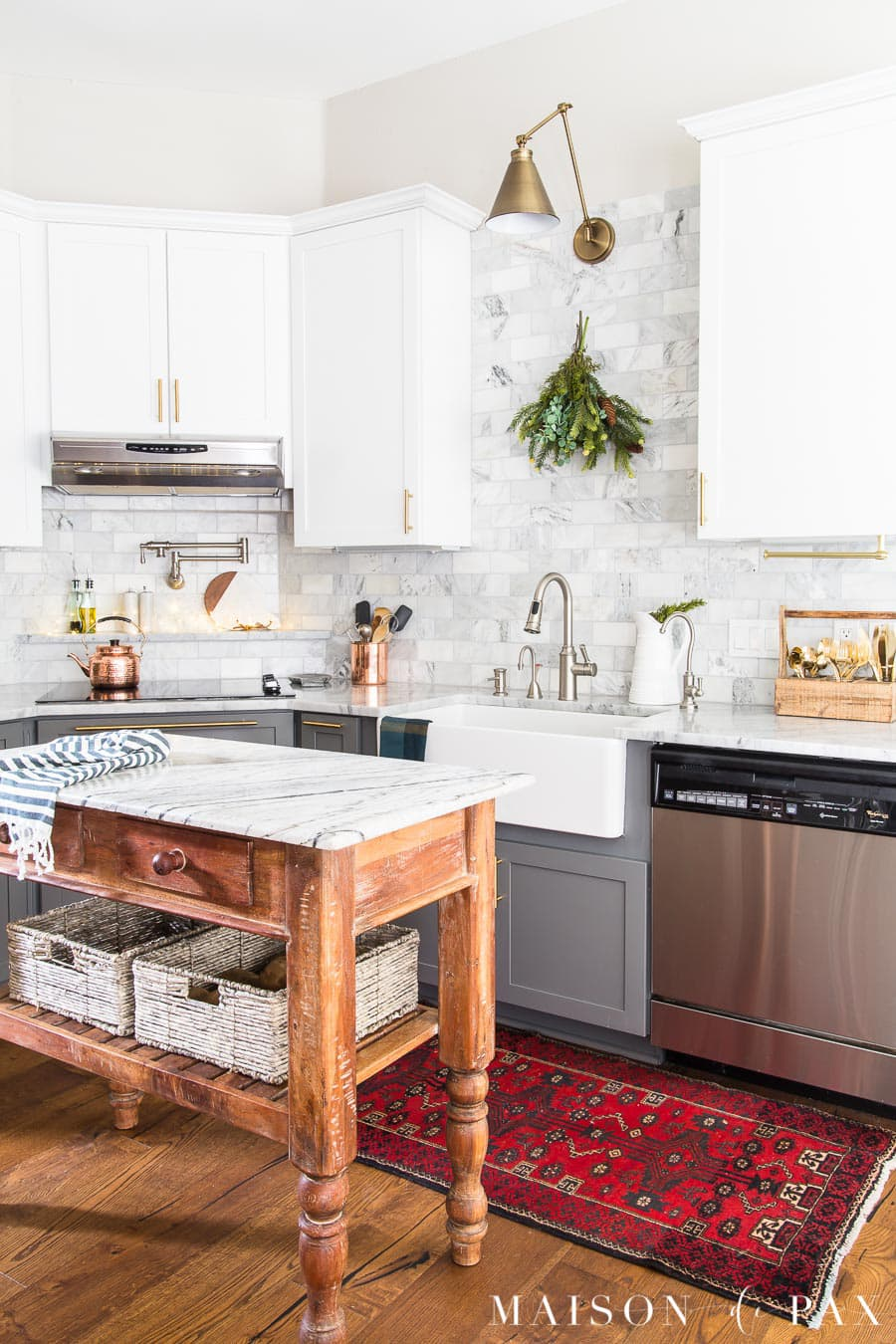 marble kitchen with christmas decorations