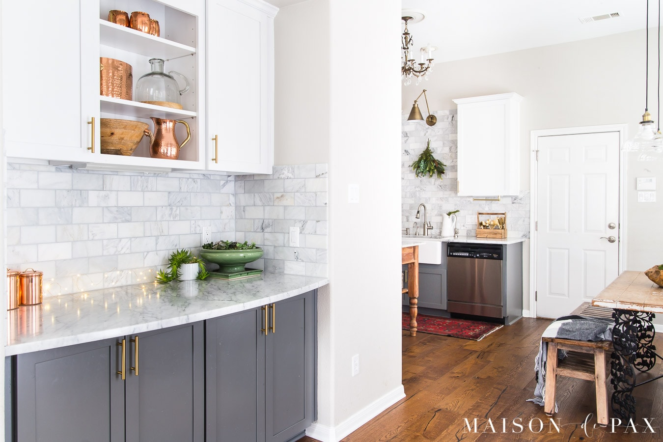 kitchen with wide plank medium brown engineered oak floors | Maison de Pax