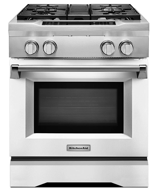"30"" professional dual fuel range in white by kitchenaid"