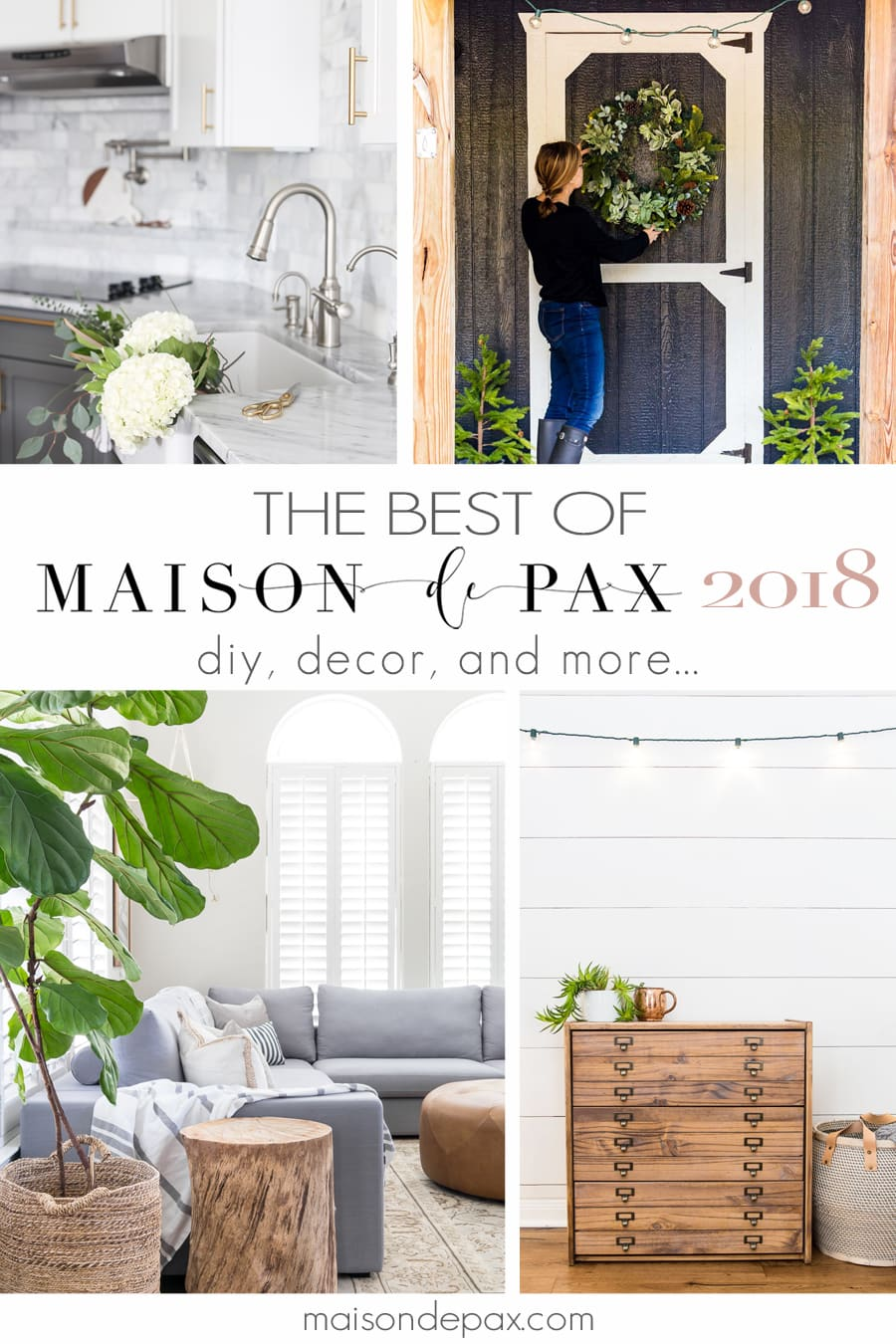 collage of home decor projects from maison de pax