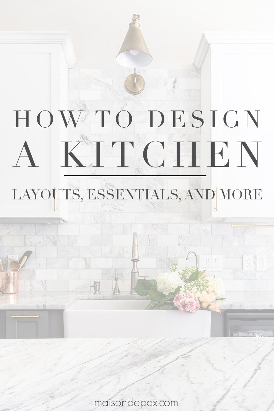beautiful kitchen with text overlay: how to design a kitchen