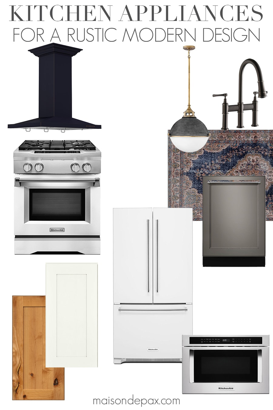 mood board with overlay: Kitchen Appliances for a Rustic Modern Design. Maison de Pax