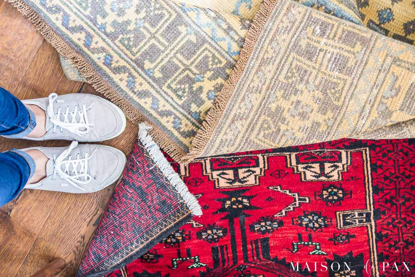 Vintage rug runners red and faded gold - Maison de Pax