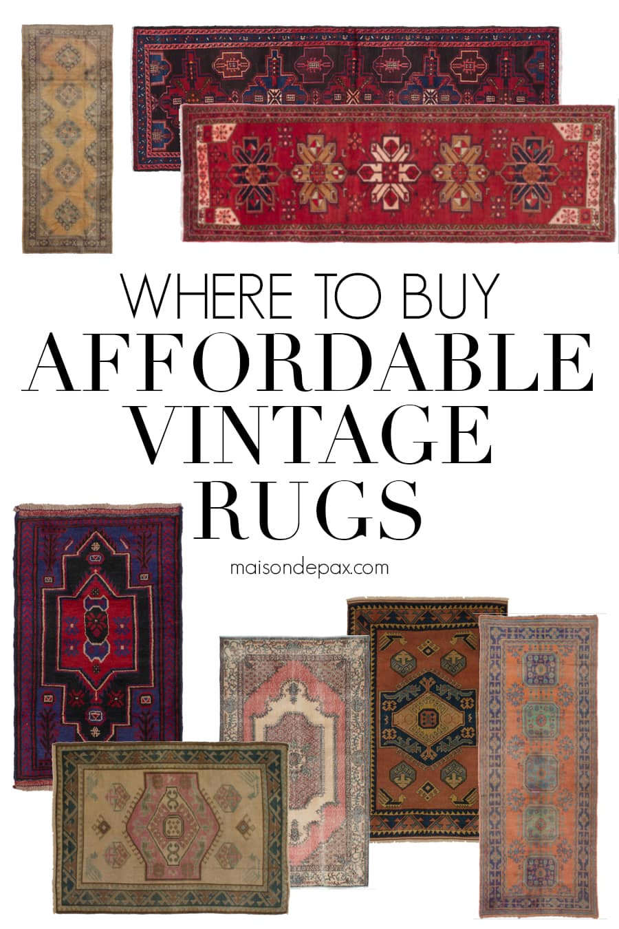 variety of vintage persian and turkish rugs and runners | maison de pax
