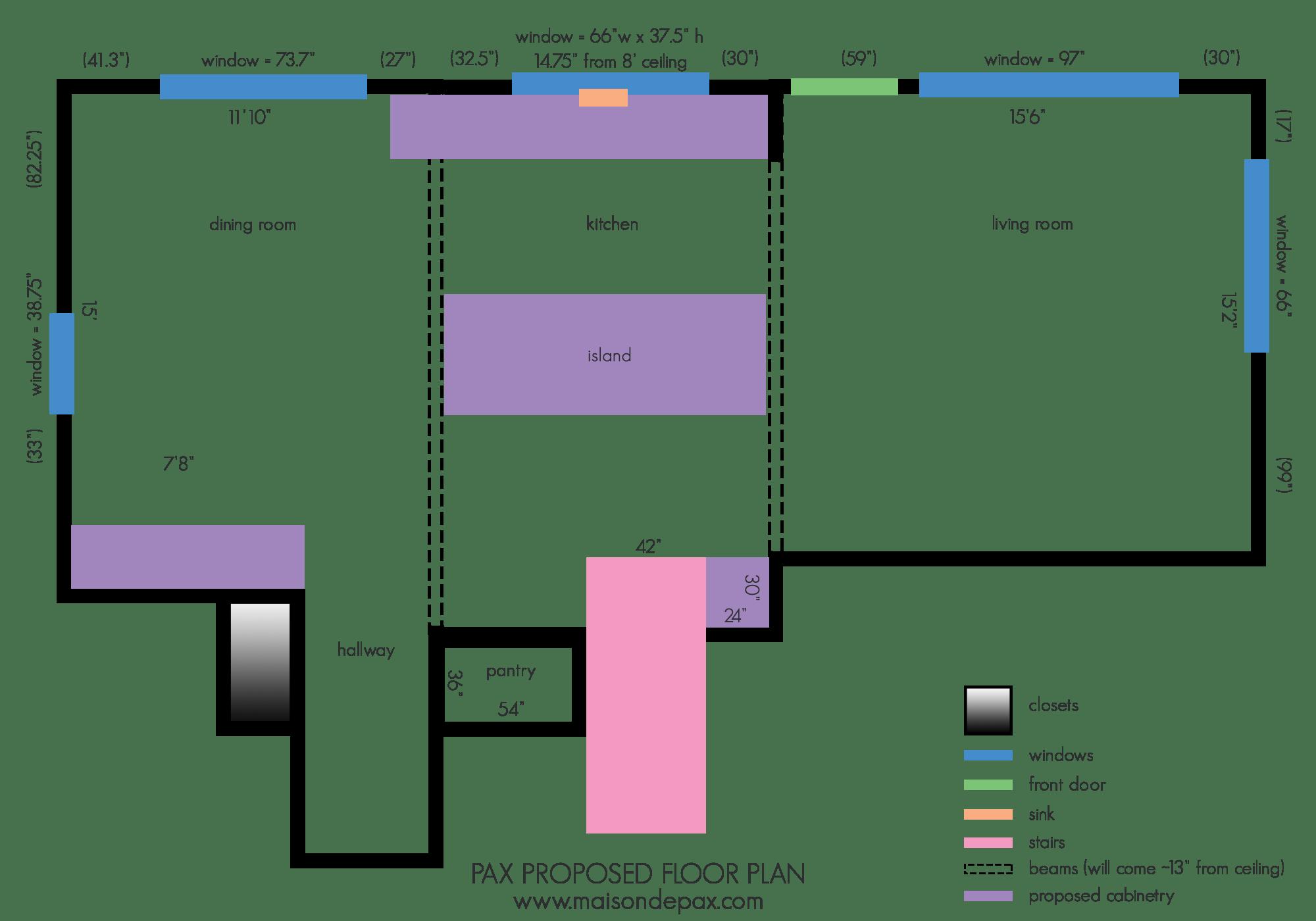 proposed floor plans for ranch kitchen renovation | Maison de Pax