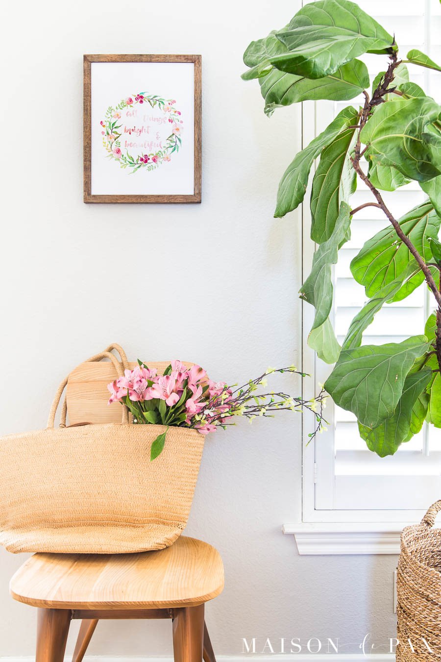 fiddle leaf fig and watercolor spring wall art | Maison de Pax