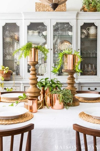 Spring Table with Copper, Succulents, and Hanging Plants
